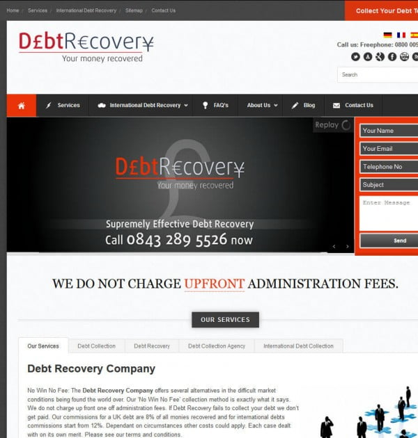 Debt Recovery B2B Debt Recovery website design