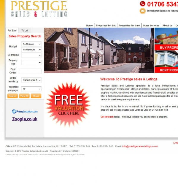 Prestige Sales Lettings LTD Website