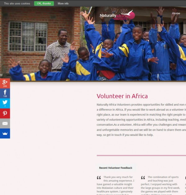 volunteer africa website by valen digital