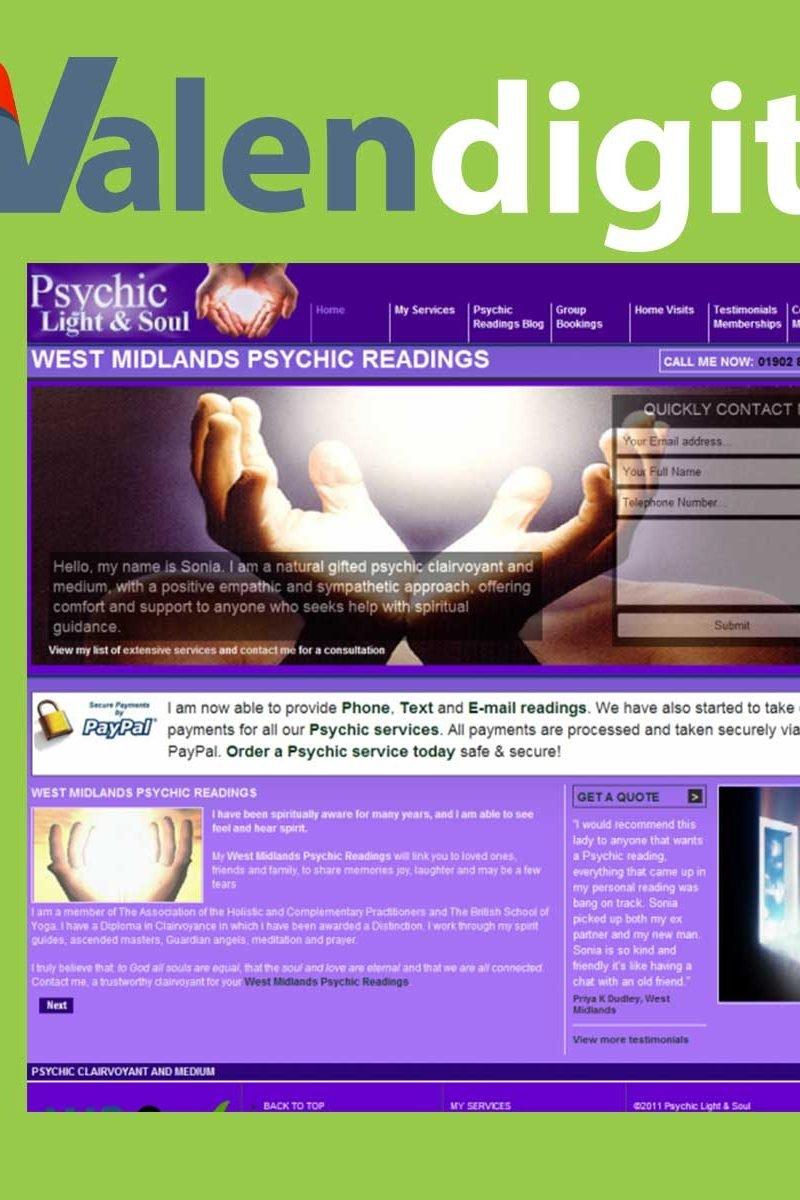 Psychic Light & Soul Website Designed by Umbrella Web Studio