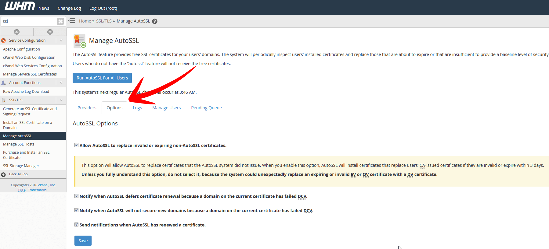 Manage AutoSSL Options