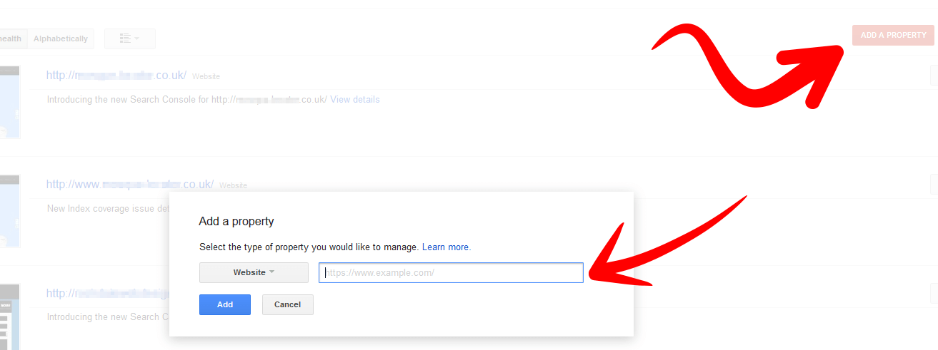 Search Console Add Website Property