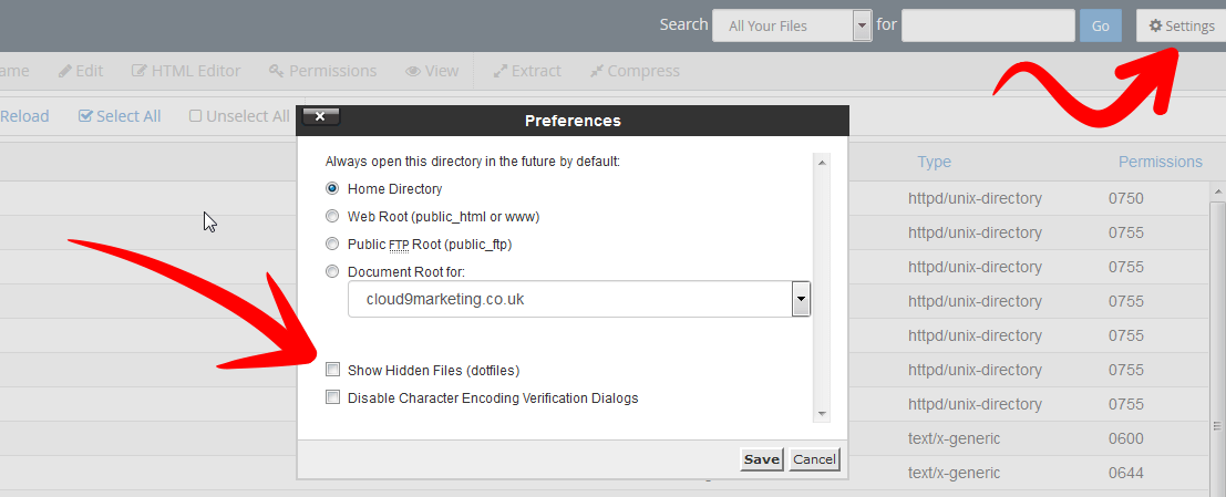 cPanel File Manager htaccess View