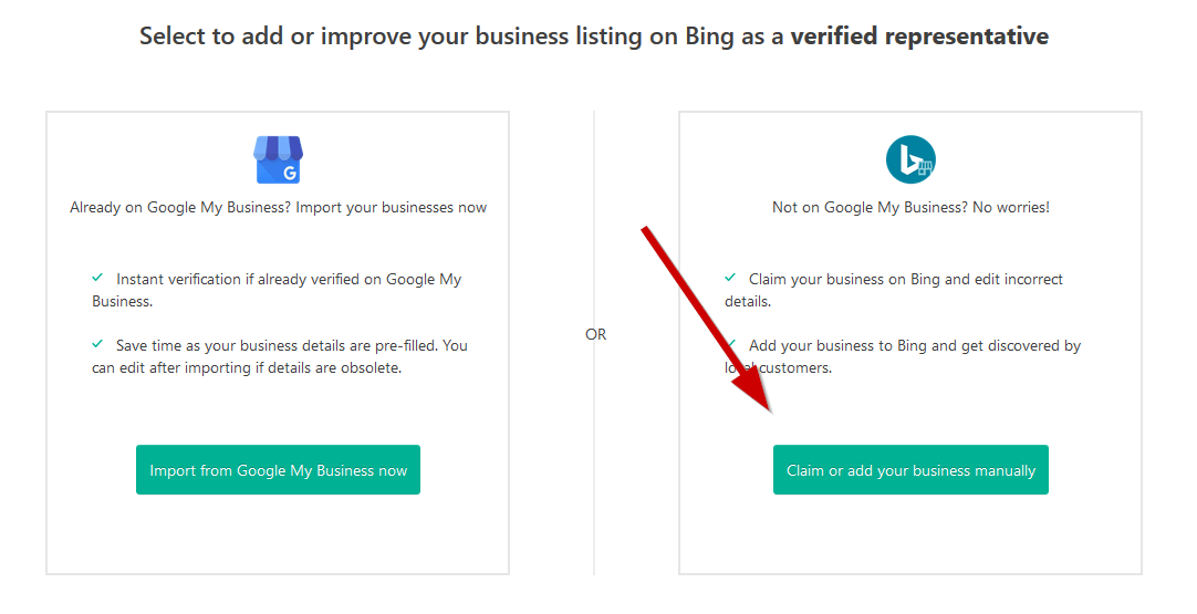bing manually add listing