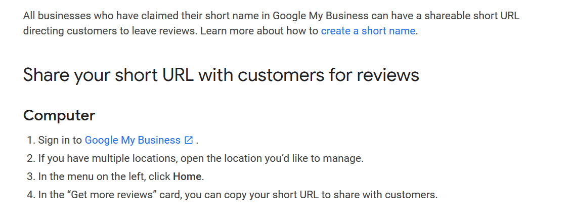 create a google review link